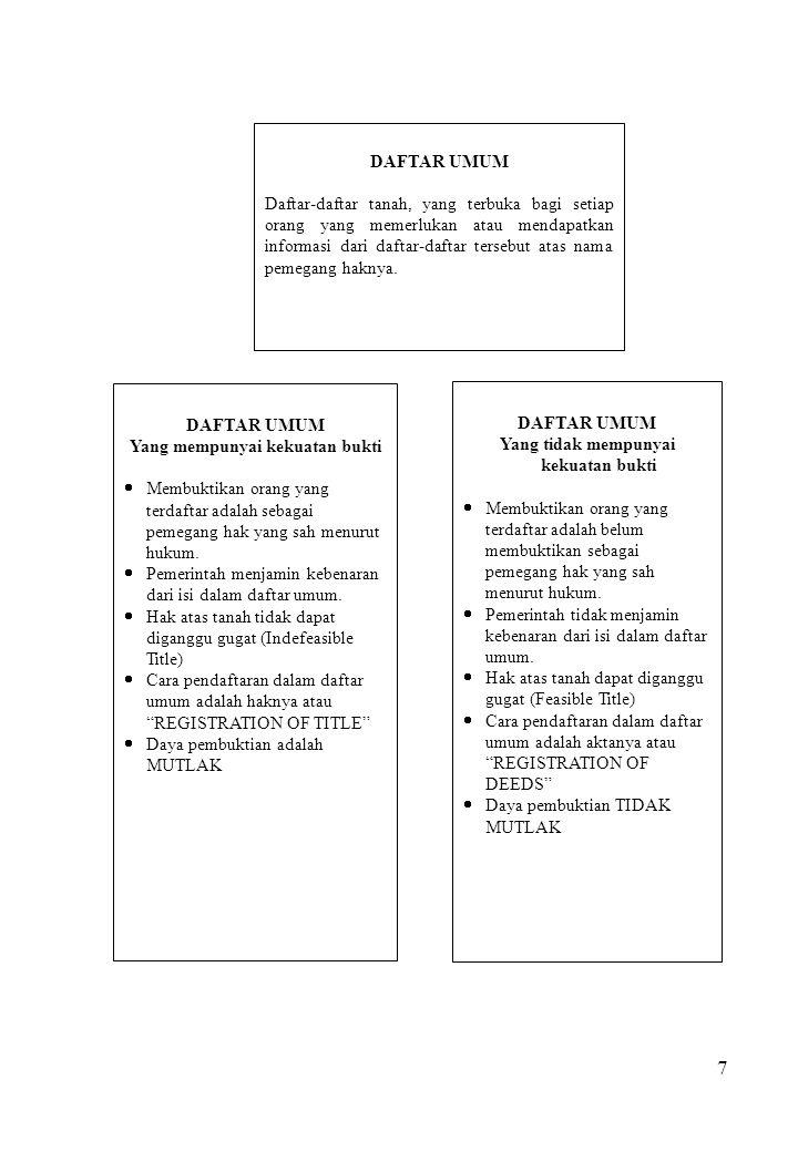 7 DAFTAR UMUM Daftar-daftar tanah, yang terbuka bagi setiap orang yang memerlukan atau mendapatkan informasi dari daftar-daftar tersebut atas nama pem