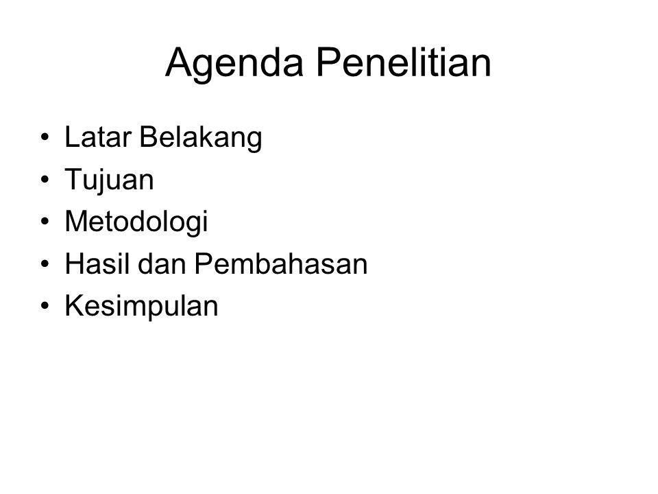 Agenda Penelitian Latar Belakang Tujuan Metodologi Hasil dan Pembahasan Kesimpulan