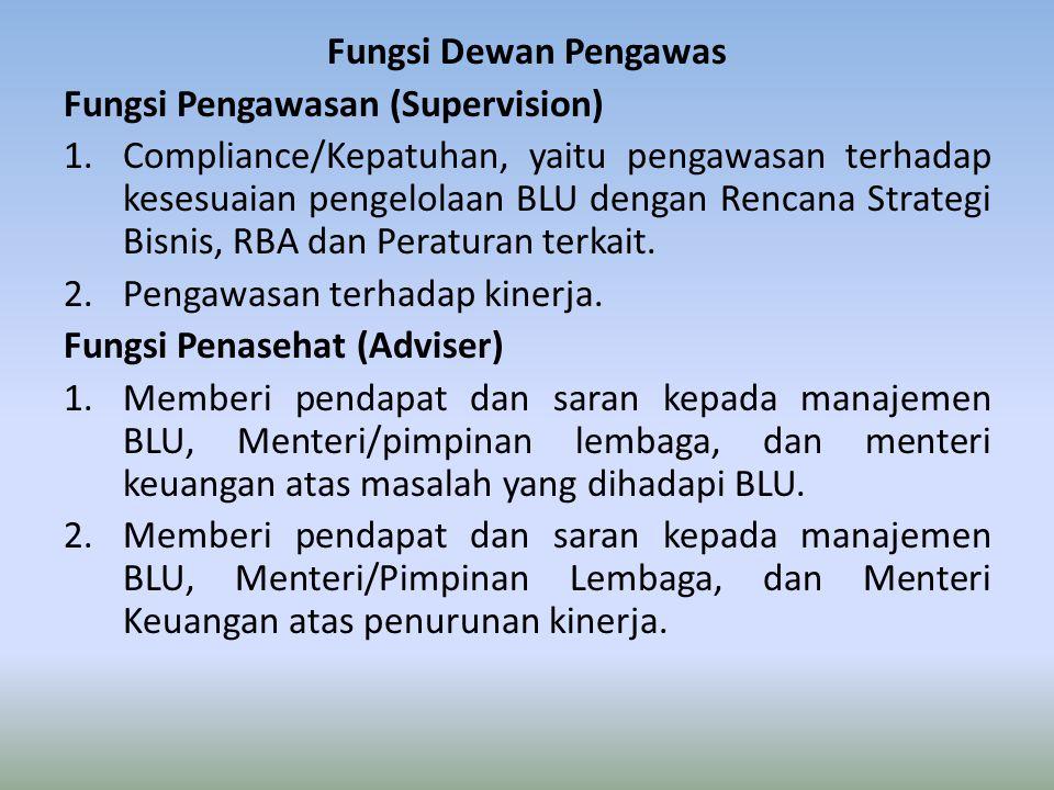 Fungsi Dewan Pengawas Fungsi Pengawasan (Supervision) 1.Compliance/Kepatuhan, yaitu pengawasan terhadap kesesuaian pengelolaan BLU dengan Rencana Strategi Bisnis, RBA dan Peraturan terkait.