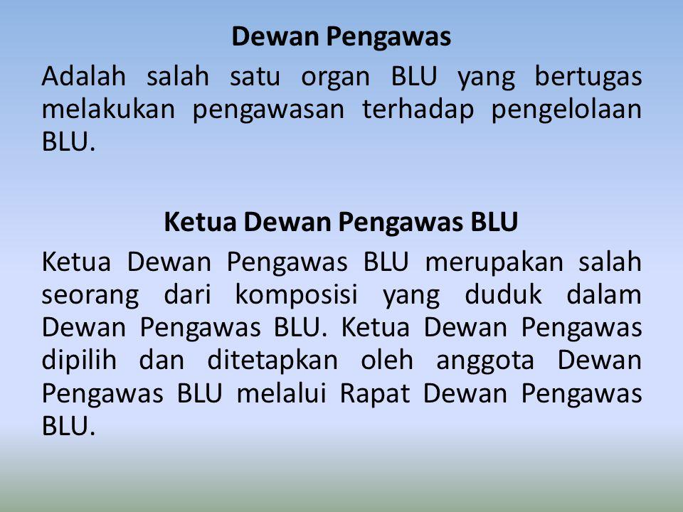 Dewan Pengawas Adalah salah satu organ BLU yang bertugas melakukan pengawasan terhadap pengelolaan BLU. Ketua Dewan Pengawas BLU Ketua Dewan Pengawas