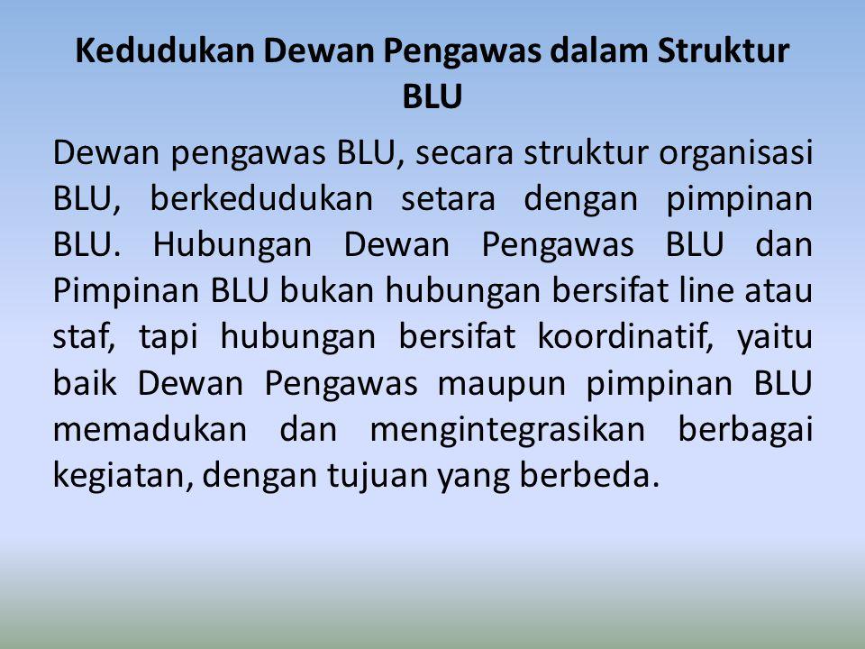Kedudukan Dewan Pengawas dalam Struktur BLU Dewan pengawas BLU, secara struktur organisasi BLU, berkedudukan setara dengan pimpinan BLU. Hubungan Dewa