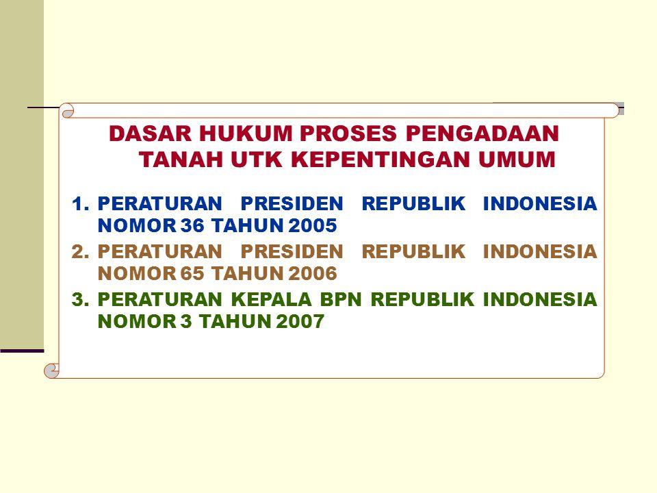 DASAR HUKUM PROSES PENGADAAN TANAH UTK KEPENTINGAN UMUM 1.PERATURAN PRESIDEN REPUBLIK INDONESIA NOMOR 36 TAHUN 2005 2.PERATURAN PRESIDEN REPUBLIK INDO