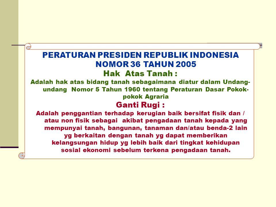 PERATURAN PRESIDEN REPUBLIK INDONESIA NOMOR 36 TAHUN 2005 Hak Atas Tanah : Adalah hak atas bidang tanah sebagaimana diatur dalam Undang- undang Nomor
