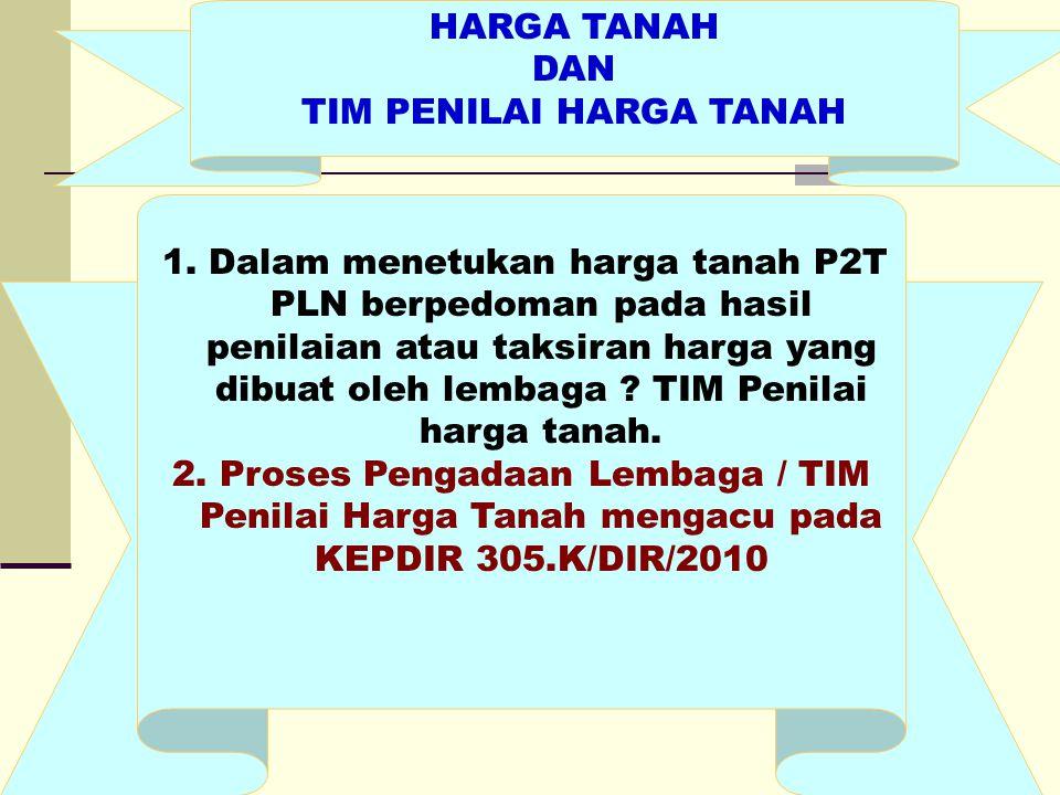 HARGA TANAH DAN TIM PENILAI HARGA TANAH 1. Dalam menetukan harga tanah P2T PLN berpedoman pada hasil penilaian atau taksiran harga yang dibuat oleh le