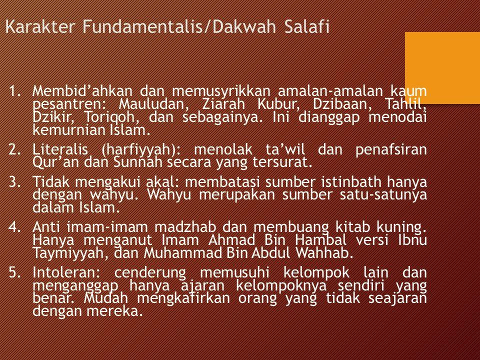 Karakter Fundamentalis/Dakwah Salafi 1.Membid'ahkan dan memusyrikkan amalan-amalan kaum pesantren: Mauludan, Ziarah Kubur, Dzibaan, Tahlil, Dzikir, To