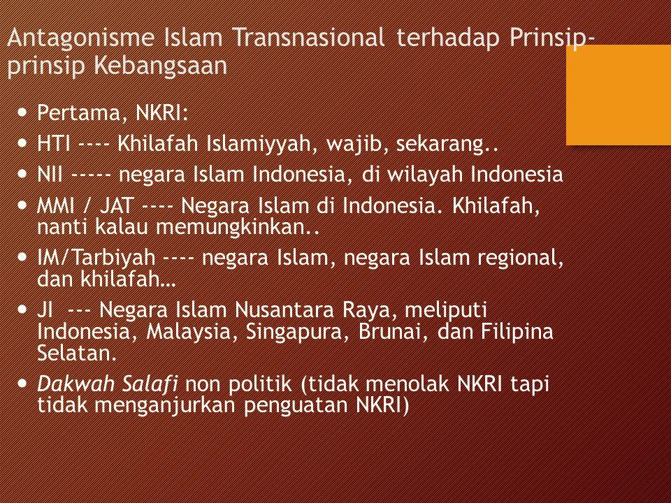 Antagonisme Islam Transnasional terhadap Prinsip- prinsip Kebangsaan Pertama, NKRI: HTI ---- Khilafah Islamiyyah, wajib, sekarang.. NII ----- negara I