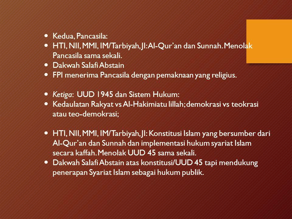 Kedua, Pancasila: HTI, NII, MMI, IM/Tarbiyah, JI: Al-Qur'an dan Sunnah. Menolak Pancasila sama sekali. Dakwah Salafi Abstain FPI menerima Pancasila de