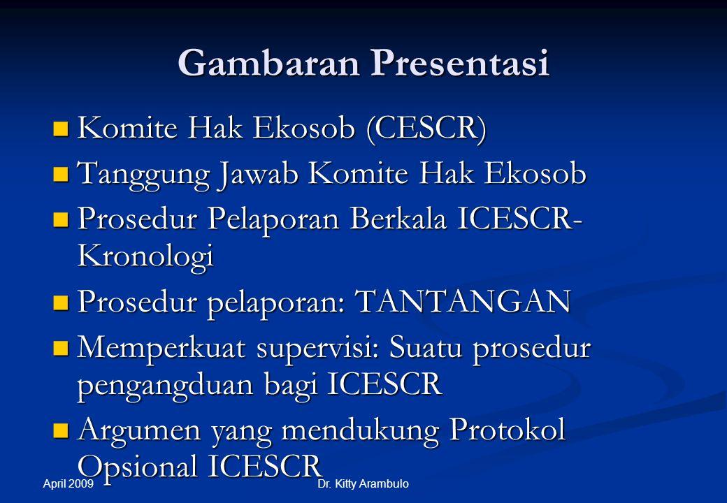 ICESCR: Kerja Komite Hak-hak Ekonomi, Sosial dan Budaya - Dr. Kitty Arambulo - (untuk RWI/ELSAM, Jakarta)