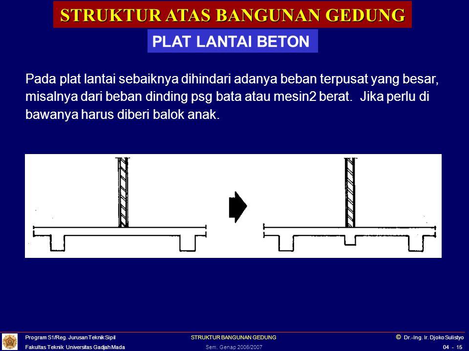 STRUKTUR ATAS BANGUNAN GEDUNG PLAT LANTAI BETON Pada plat lantai sebaiknya dihindari adanya beban terpusat yang besar, misalnya dari beban dinding psg