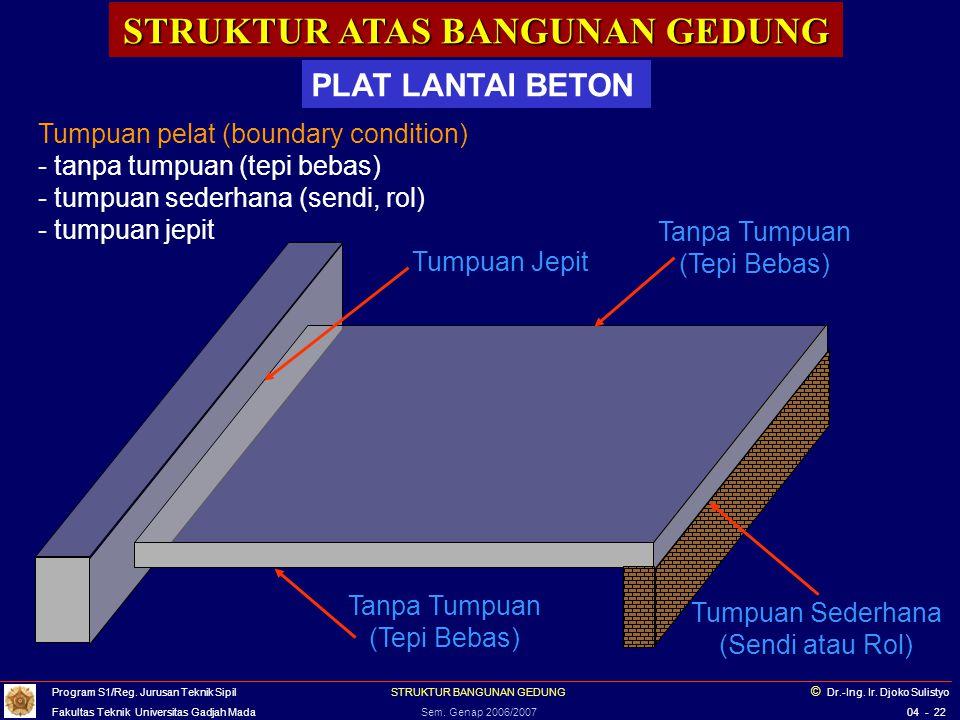 STRUKTUR ATAS BANGUNAN GEDUNG PLAT LANTAI BETON Tumpuan pelat (boundary condition) - tanpa tumpuan (tepi bebas) - tumpuan sederhana (sendi, rol) - tum