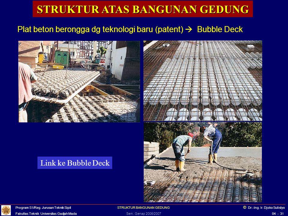 STRUKTUR ATAS BANGUNAN GEDUNG Plat beton berongga dg teknologi baru (patent)  Bubble Deck Link ke Bubble Deck Program S1/Reg. Jurusan Teknik Sipil ST
