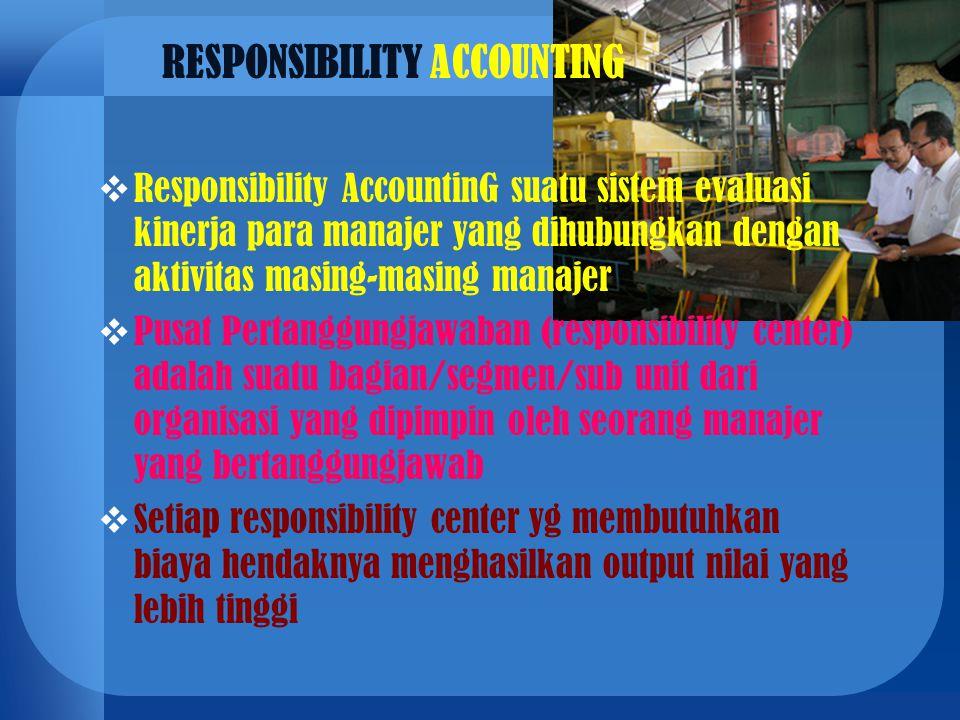  Responsibility AccountinG suatu sistem evaluasi kinerja para manajer yang dihubungkan dengan aktivitas masing-masing manajer  Pusat Pertanggungjawa