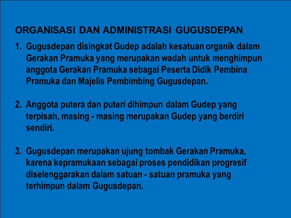 1.Gugusdepan disingkat Gudep adalah kesatuan organik dalam Gerakan Pramuka yang merupakan wadah untuk menghimpun anggota Gerakan Pramuka sebagai Peser