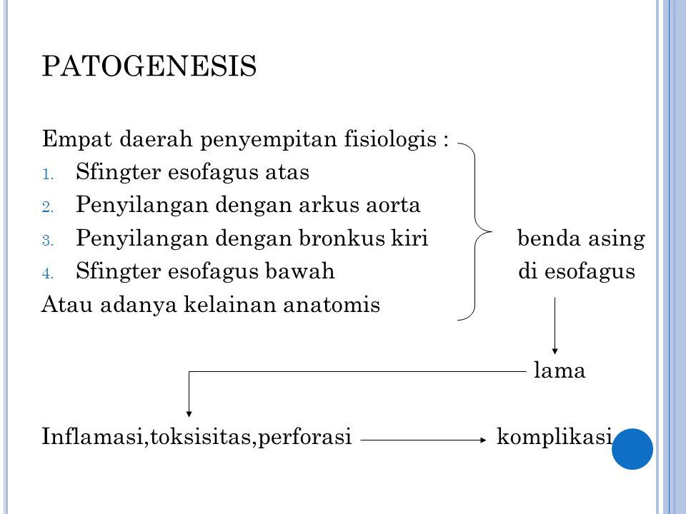 PATOGENESIS Empat daerah penyempitan fisiologis : 1. Sfingter esofagus atas 2. Penyilangan dengan arkus aorta 3. Penyilangan dengan bronkus kiri benda