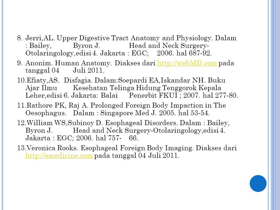 8.Jerri,AL. Upper Digestive Tract Anatomy and Physiology. Dalam : Bailey, Byron J. Head and Neck Surgery- Otolaringology,edisi 4. Jakarta : EGC; 2006.