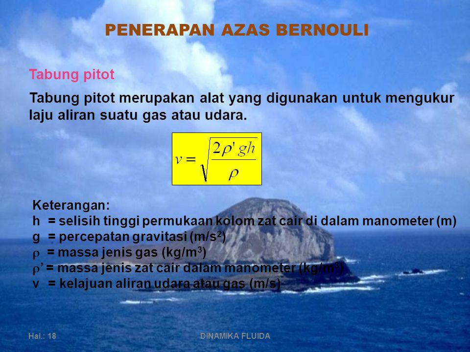 PENERAPAN AZAS BERNOULI Hal.: 18DINAMIKA FLUIDA Tabung pitot Tabung pitot merupakan alat yang digunakan untuk mengukur laju aliran suatu gas atau udara.