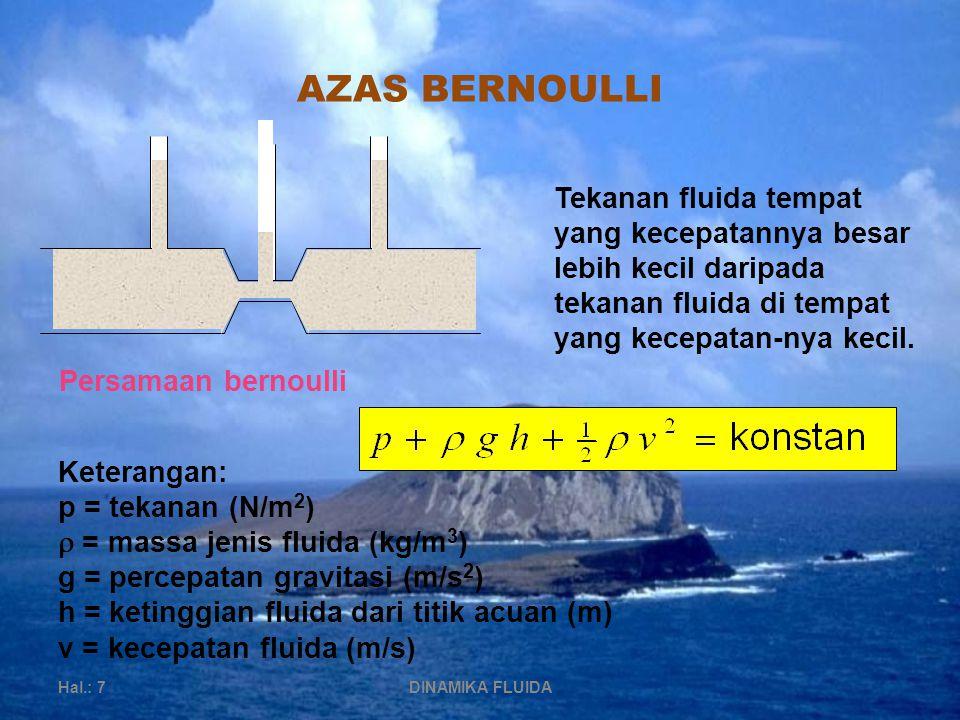 AZAS BERNOULLI Hal.: 7DINAMIKA FLUIDA Tekanan fluida tempat yang kecepatannya besar lebih kecil daripada tekanan fluida di tempat yang kecepatan-nya kecil.