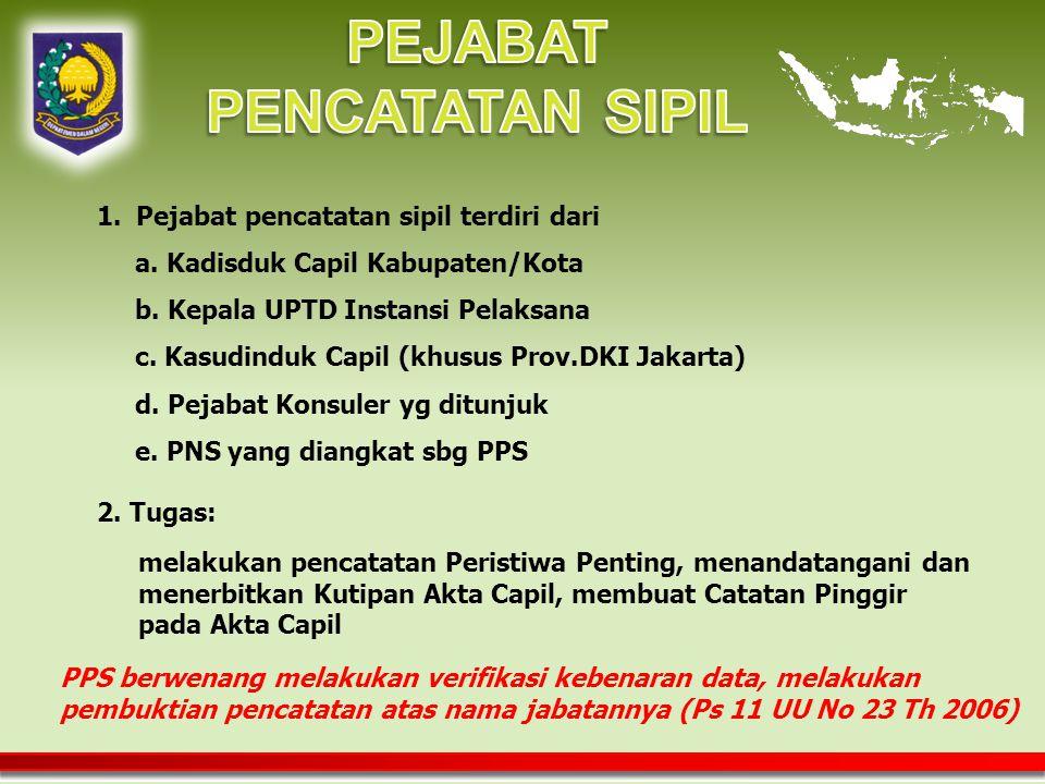 melakukan pencatatan Peristiwa Penting, menandatangani dan menerbitkan Kutipan Akta Capil, membuat Catatan Pinggir pada Akta Capil 1.Pejabat pencatatan sipil terdiri dari a.