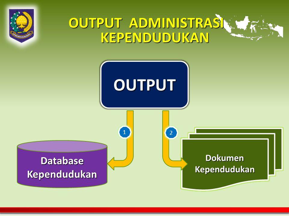 OUTPUT ADMINISTRASI KEPENDUDUKAN OUTPUT Database Kependudukan Dokumen Kependudukan 1 2