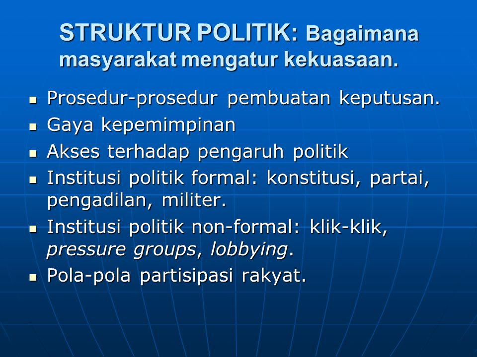 STRUKTUR POLITIK: Bagaimana masyarakat mengatur kekuasaan. Prosedur-prosedur pembuatan keputusan. Prosedur-prosedur pembuatan keputusan. Gaya kepemimp