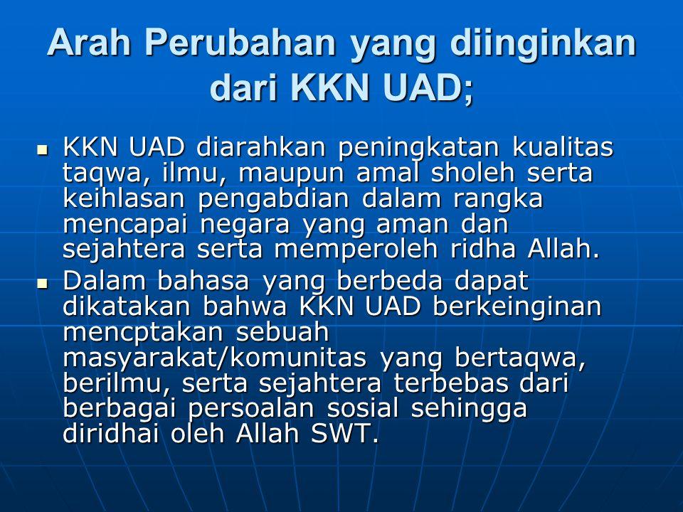 Arah Perubahan yang diinginkan dari KKN UAD; KKN UAD diarahkan peningkatan kualitas taqwa, ilmu, maupun amal sholeh serta keihlasan pengabdian dalam r