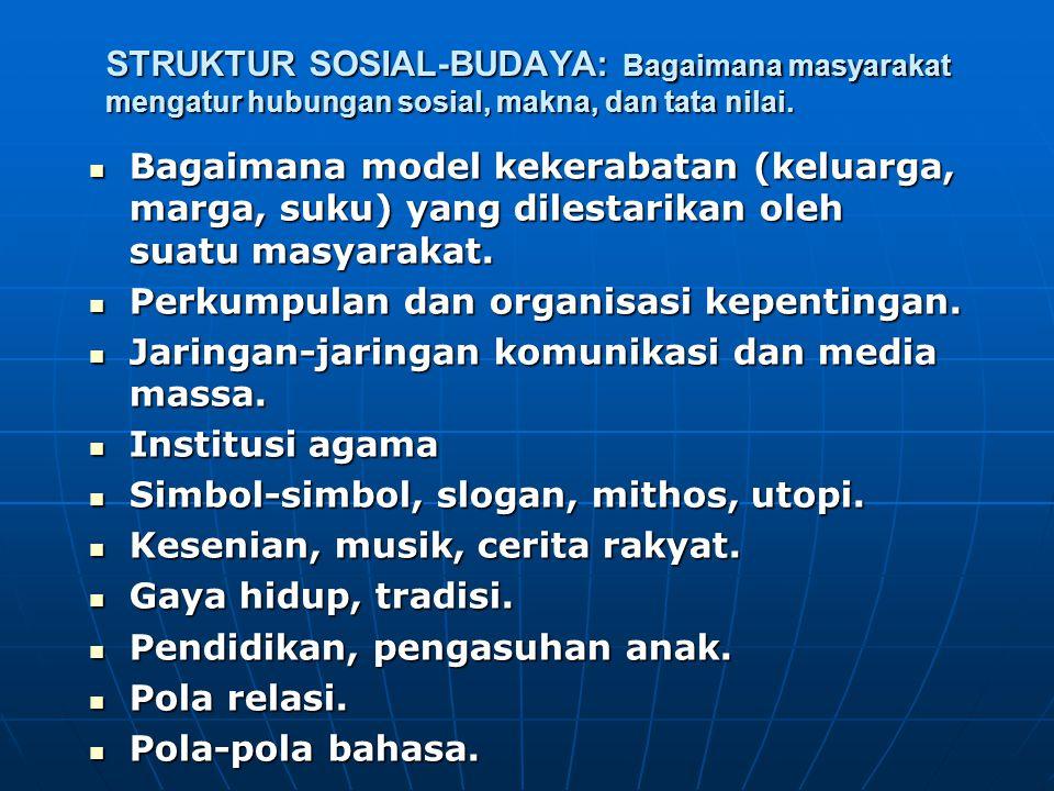 STRUKTUR SOSIAL-BUDAYA: Bagaimana masyarakat mengatur hubungan sosial, makna, dan tata nilai. Bagaimana model kekerabatan (keluarga, marga, suku) yang