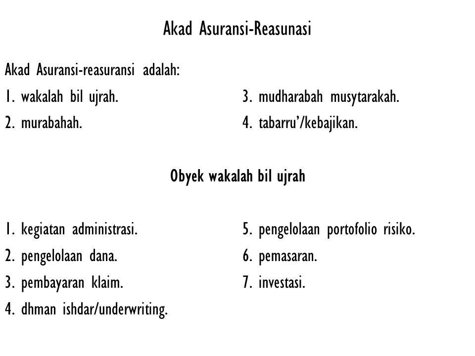 Akad Mudharabah Musytarakah pada Asuransi-reasuransi 1.Akad yang digunakan adalah Akad Musytarakah yang merupakan perpaduan antara pelaksanaan transaksi Mudharabah dengan transaksi Musyarakah dengan ketentuan yang mengikat pada masing-masing transaksi.