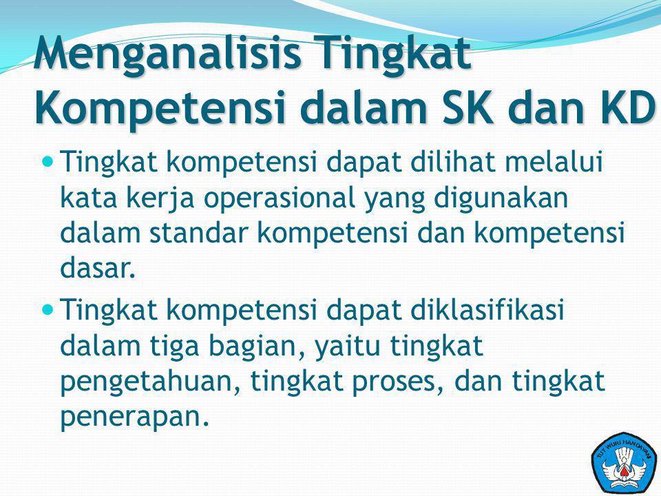 Menganalisis Tingkat Kompetensi dalam SK dan KD Tingkat kompetensi dapat dilihat melalui kata kerja operasional yang digunakan dalam standar kompetens