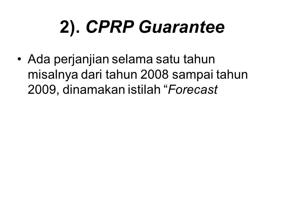 "2). CPRP Guarantee Ada perjanjian selama satu tahun misalnya dari tahun 2008 sampai tahun 2009, dinamakan istilah ""Forecast"
