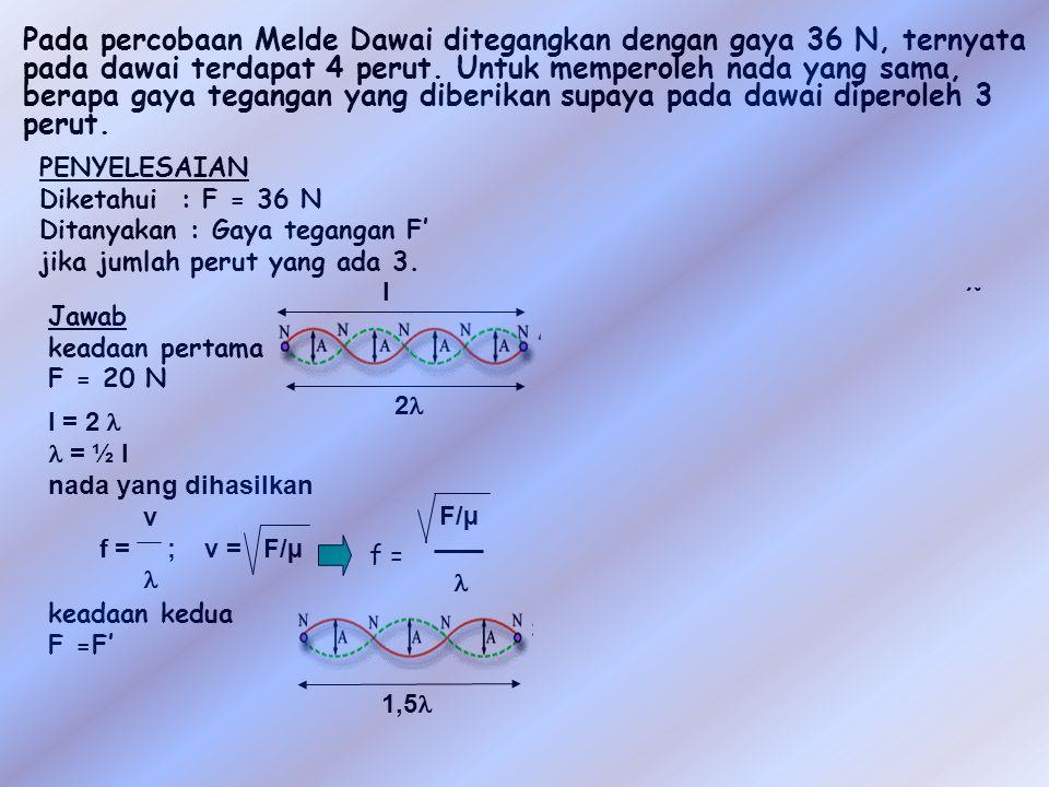 Pada percobaan Melde Dawai ditegangkan dengan gaya 36 N, ternyata pada dawai terdapat 4 perut.
