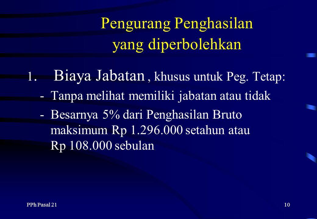 PPh Pasal 219 Tidak Termasuk Penghasilan Pembayaran oleh perusahaan asuransi Penerimaan dalam bentu Natura Iuran pensiun & THT yang dibayar pemberi ke