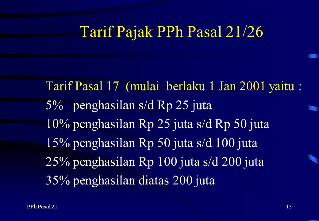 PPh Pasal 2114 Besarnya PTKP : WP sendiri Status Kawin Istri berpenghasilan Tanggunan Mak 3 orang PTKP untuk istri berpenghasilan tidak digunakan untu