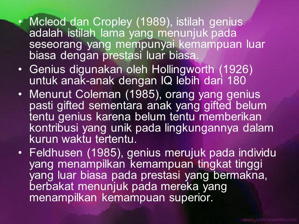 Mcleod dan Cropley (1989), istilah genius adalah istilah lama yang menunjuk pada seseorang yang mempunyai kemampuan luar biasa dengan prestasi luar bi