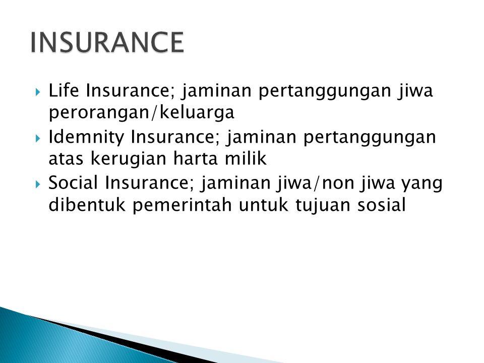  Life Insurance; jaminan pertanggungan jiwa perorangan/keluarga  Idemnity Insurance; jaminan pertanggungan atas kerugian harta milik  Social Insura
