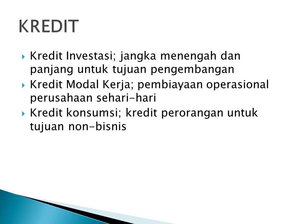  Kredit Investasi; jangka menengah dan panjang untuk tujuan pengembangan  Kredit Modal Kerja; pembiayaan operasional perusahaan sehari-hari  Kredit