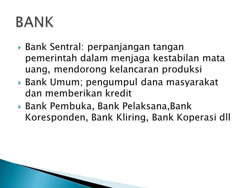  Bank Sentral: perpanjangan tangan pemerintah dalam menjaga kestabilan mata uang, mendorong kelancaran produksi  Bank Umum; pengumpul dana masyaraka