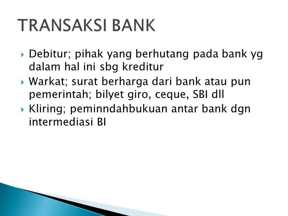  Debitur; pihak yang berhutang pada bank yg dalam hal ini sbg kreditur  Warkat; surat berharga dari bank atau pun pemerintah; bilyet giro, ceque, SB
