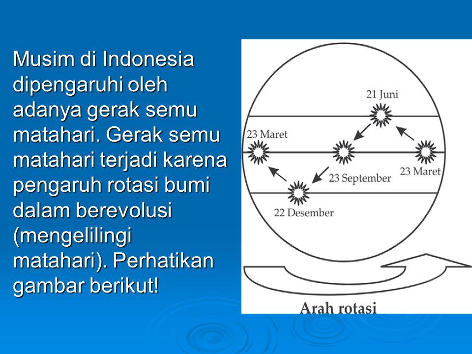Musim di Indonesia dipengaruhi oleh adanya gerak semu matahari.
