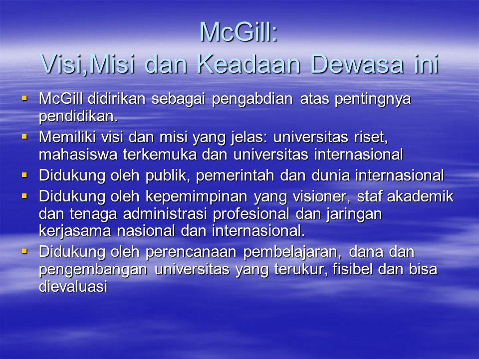 McGill: Visi,Misi dan Keadaan Dewasa ini  McGill didirikan sebagai pengabdian atas pentingnya pendidikan.  Memiliki visi dan misi yang jelas: univer