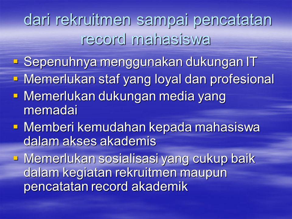 dari rekruitmen sampai pencatatan record mahasiswa dari rekruitmen sampai pencatatan record mahasiswa  Sepenuhnya menggunakan dukungan IT  Memerluka