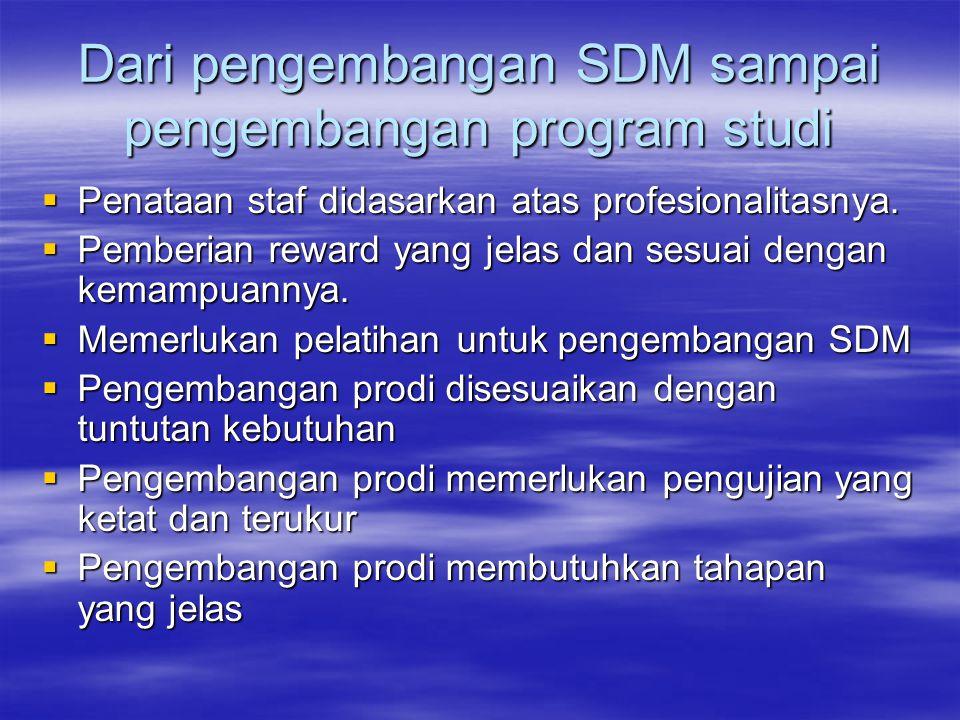 Dari pengembangan SDM sampai pengembangan program studi  Penataan staf didasarkan atas profesionalitasnya.  Pemberian reward yang jelas dan sesuai d