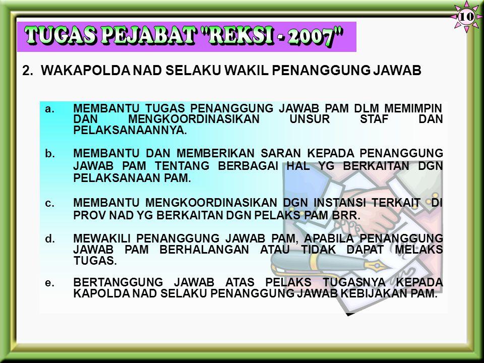 a.MENENTUKAN ARAH KEBIJAKAN & DAL PAM PROGRAM BRR DI WIL PROV NAD. b.MEMIMPIN & BERTANGGUNG JAWAB ATAS PENYELENGGARAAN PAM PELAKS PROGRAM BRR. c.MENGK
