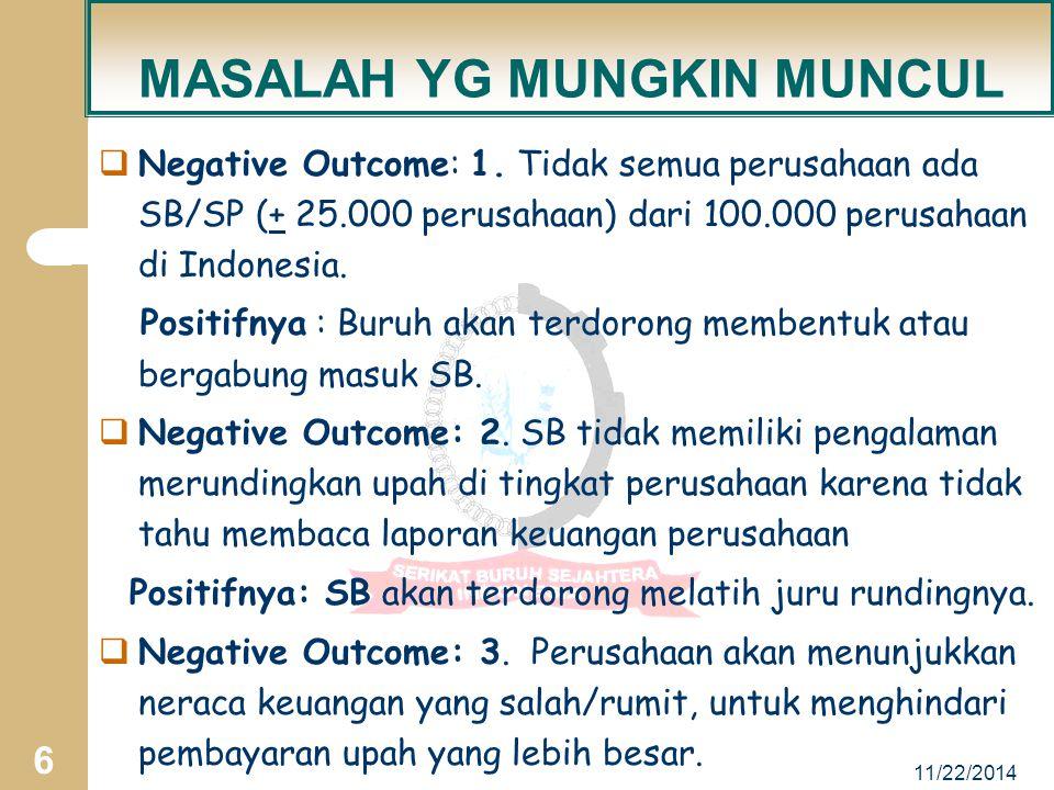 11/22/2014 6 MASALAH YG MUNGKIN MUNCUL  Negative Outcome: 1.