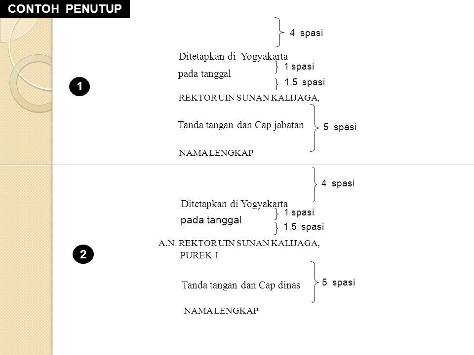 1,5 spasi 1 spasi 5 spasi 4 spasi Ditetapkan di Yogyakarta pada tanggal REKTOR UIN SUNAN KALIJAGA, Tanda tangan dan Cap jabatan NAMA LENGKAP Ditetapkan di Yogyakarta A.N.