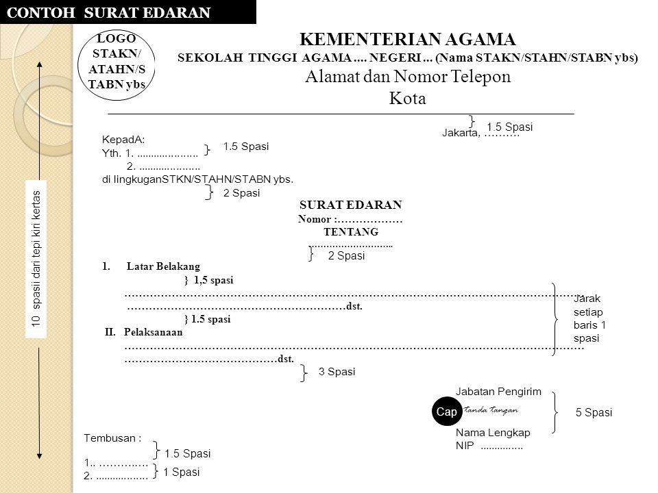 KepadA: Yth. 1...................... 2...................... di lingkuganSTKN/STAHN/STABN ybs. Jakarta, ………. 1.5 Spasi 2 Spasi Cap Tembusan : 1.. ……….