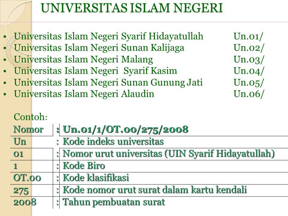 UNIVERSITAS ISLAM NEGERI Nomor :Un.01/1/OT.00/275/2008Un: Kode indeks universitas 01: Nomor urut universitas (UIN Syarif Hidayatullah) 1: Kode Biro OT