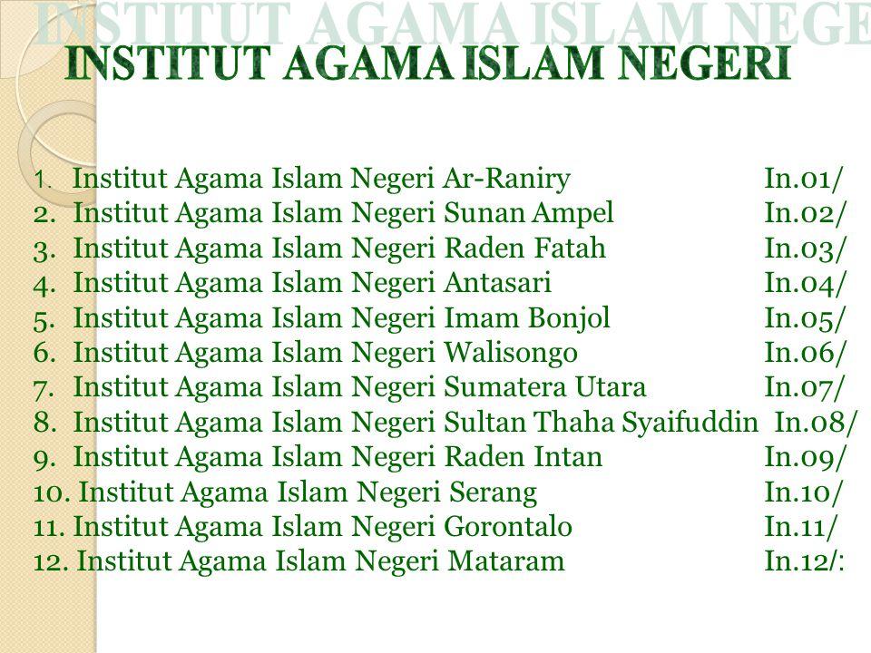 1. Institut Agama Islam Negeri Ar-Raniry In.01/ 2. Institut Agama Islam Negeri Sunan Ampel In.02/ 3. Institut Agama Islam Negeri Raden Fatah In.03/ 4.