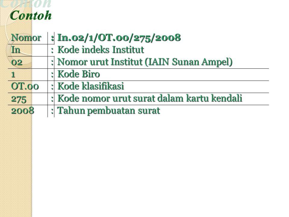 Nomor :In.02/1/OT.00/275/2008In: Kode indeks Institut 02: Nomor urut Institut (IAIN Sunan Ampel) 1: Kode Biro OT.00: Kode klasifikasi 275: Kode nomor urut surat dalam kartu kendali 2008: Tahun pembuatan surat