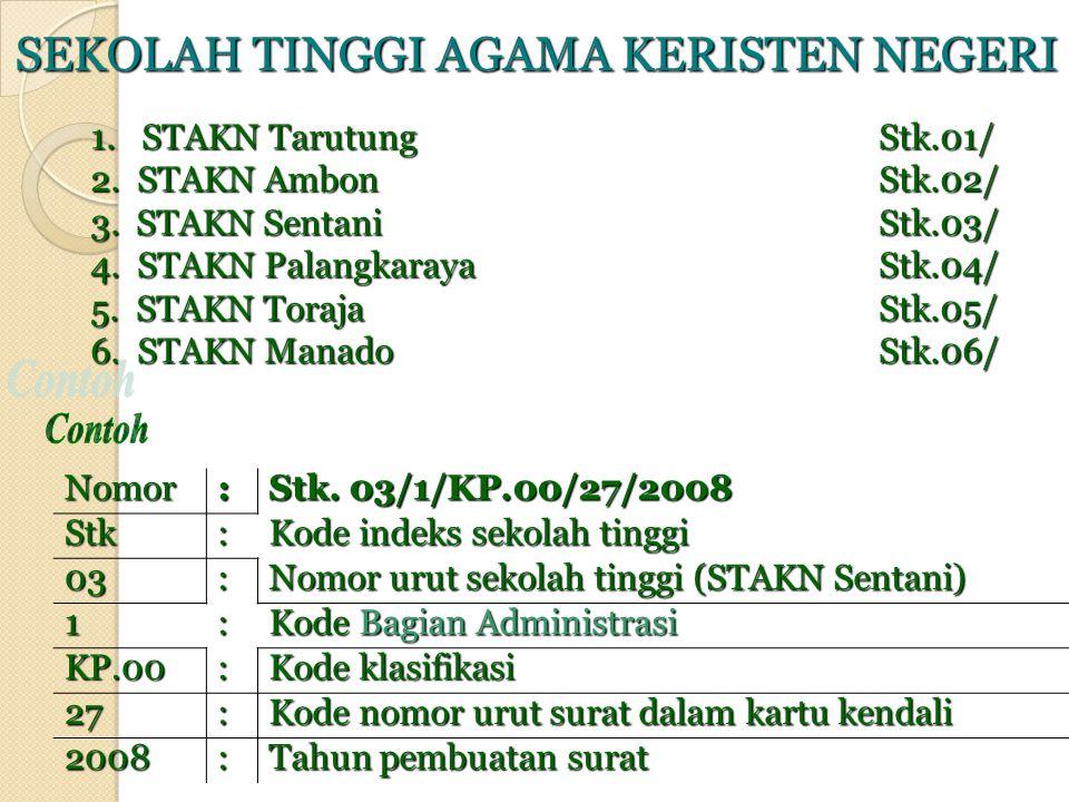 SEKOLAH TINGGI AGAMA KERISTEN NEGERI 1.STAKN TarutungStk.01/ 2.