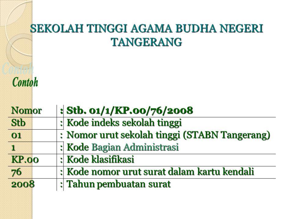 Nomor : Stb. 01/1/KP.00/76/2008 Stb: Kode indeks sekolah tinggi 01: Nomor urut sekolah tinggi (STABN Tangerang) 1: Kode Bagian Administrasi KP.00: Kod